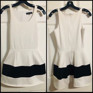 BOULEE White Mini Dress with Structured Skirt
